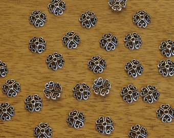 Scrolled Heart Design Pewter Antiqued Silver Plated Bead Caps 8mm - 50