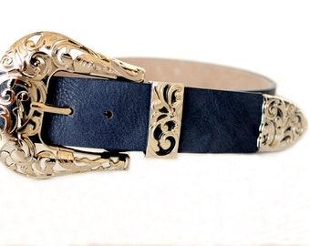 Sky blue belt for women , Belts for women , Vegan leather belt , Vegan leather belt with silver buckle , Wide belt womens