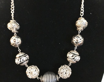 Black and Silver ball necklace