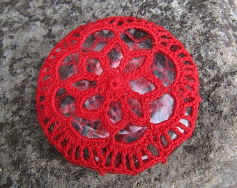 Red Rosette Mini Paperweight crocheted lace fiber art thread crochet over glass pebble