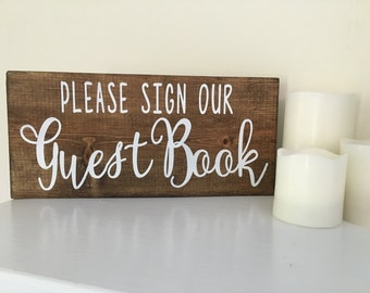 Painted Please Sign Our Guest Book Painted Wood Wedding Sign