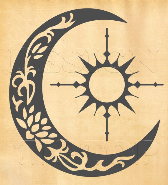 Sun Compass Crescent Moon Svg Dxf Png Eps Cdr