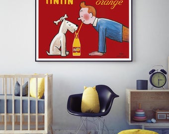 Tintin Orange Soda Vintage Poster