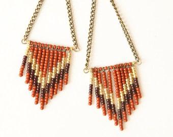 SALE  Chevron seed bead earrings - brown, rust, gold