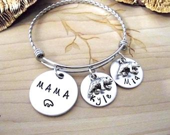 Mama Bear Jewelry, Mama Bear Bracelet, Bear Bracelet, Mommy Jewelry, Stainless Steel Bangle Bracelet, 1+ discs