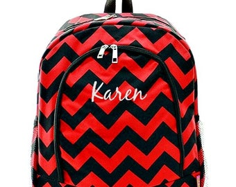 Monogrammed Backpack Personalized Chevron Red Black Backpack Personalized Backpack Kids Backpack Girls Backpack Boys Backpack