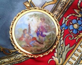 Antique Limoges porcelain, diameter 48mm cabochon