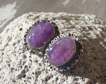 Vintage 40s Earrings Mexican Amethyst & Sterling Silver