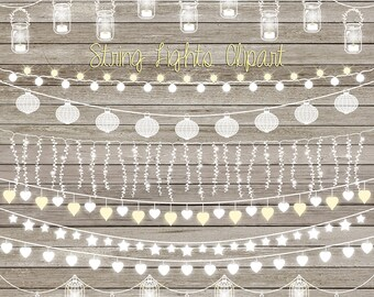 "String lights clip art: ""STRING LIGHTS CLIPART"" with wedding lights, party lights, patio lights, lights clipart for wedding invitations"