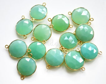 Green CHALCEDONY Round Coin Vermeil Gold Connector 21x15mm