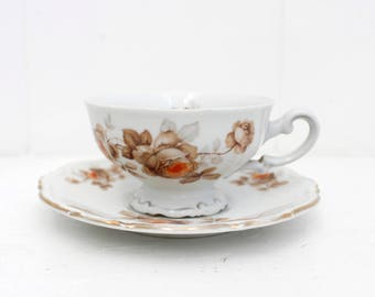 Norway Rose for Mitterteich Bavaria, teacup and saucer set