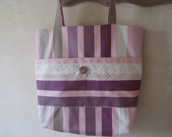 Large striped canvas tote bag. Double cloth fabric
