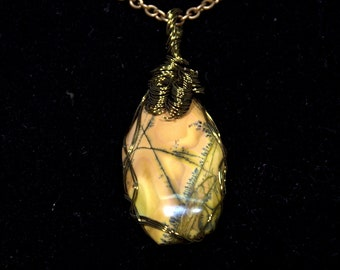 Necklace, picture Jasper stone wire wrapped in bronze color wire on a 18' bronze color chain.