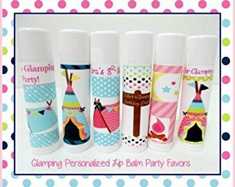 Glamping Lip Balm Party Favors - Glamping Personalized Lip Balm - Glamping Favors - Free Personalization - Individual - You Select Quantity