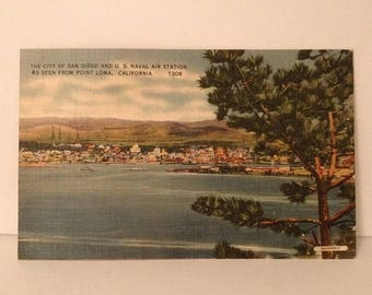 ON SALE San Diego California CA U.S. Naval Air Station from Point Loma Vintage 1940's Linen Postcard