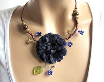 Midnight Blue Peony Flower necklace.