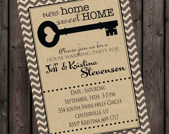 FAST ship New home invitation, house warming invitations, open house invitation, neutral customized wording AND color accent change, key