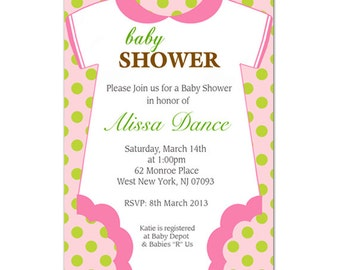 Girl Personalized baby shower invitation - Digital file