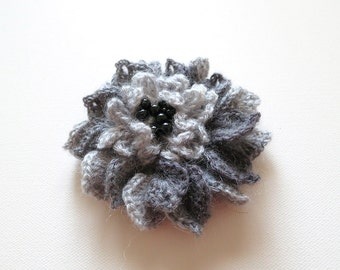 FREE US SHIPPING - Light Dark Gray Color Crochet Statement Flower Brooch Hat Hair Scarf Wrap Pin Black Beads