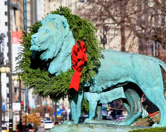 Chicago Lion Wreath Print
