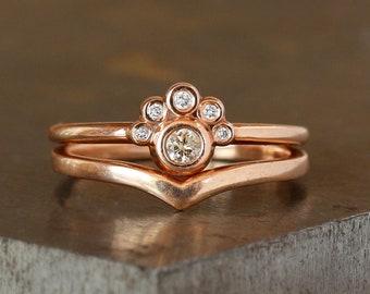 Modern Diamond Ring Set, Stacking Rings, Champagne Diamond Cluster Ring, Chevron Wedding Band, Unique Engagement Ring, Stacking Bridal Rings