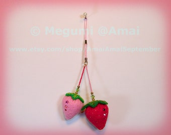 Hand-stitched Felt Strawberries Ornament / Cell phone Strap keychain plush fruit sweets cute bag zipper pull
