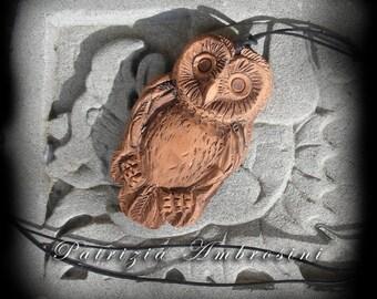 clay pendant  Barn OWL  handmade