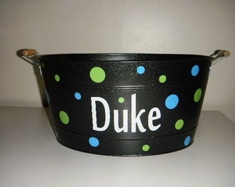 Large Metal Bucket personalized with polka dots