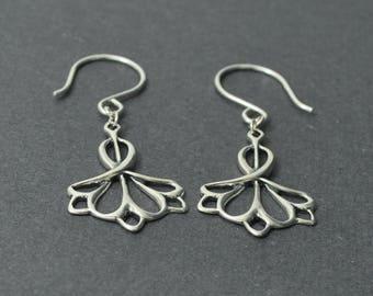 Sterling Silver Filigree Earrings, Silver Dangle Earring, Modern Earrings