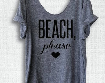 Beach Please scoop neck tee