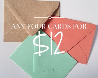 Choose Any 4 Cards - Greeting Cards - Sassy Friendship Cards - Cards for Sisters - Card Set