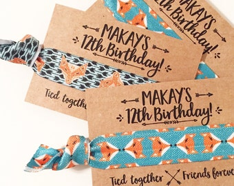 Fox Birthday Party Hair Tie Favors | Turquoise Fox Birthday Hair Tie Favors, Teal Fox Birthday, Bohemian Arrow Boho Birthday Hair Tie Favors