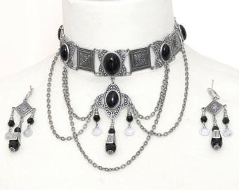 Ethnic Silver Jewelry Set Black Onyx Choker Necklace and Earrings Gothic Choker Earrings Tribal Choker Ethnic Wedding Jewelry Gothic Jewelry