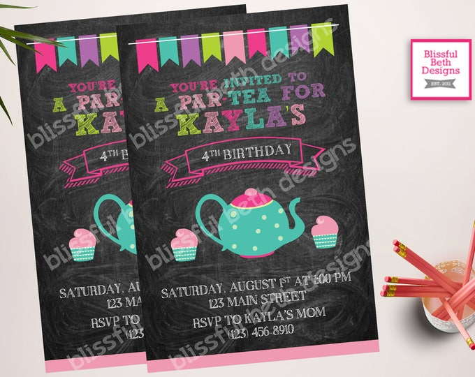 TEA PARTY INVITATION, Tea Party Birthday Invite, Printable Tea Party, Personalized Tea Party Invitation, Par-tea Invitation, Tea Par-tea