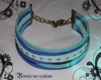 """""""Poséidon"""" Blue Suede suede Cuff Bracelet"""