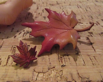 Mid Century Sixties 2 Leather Leaf Brooches Pins Canada Kitsch Burnt Orange Tones Excellent Condition