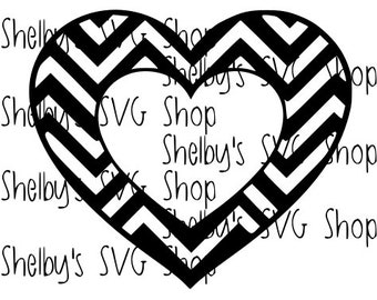 Chevron Heart - Chevron Monogram - SVG file