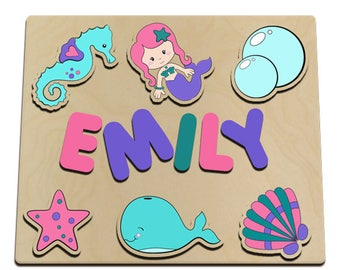 Mermaid Tales Personalized Wooden Name Puzzle Seahorse, Bubbles, Seashell, Star, Whale, Mermaid id236716874