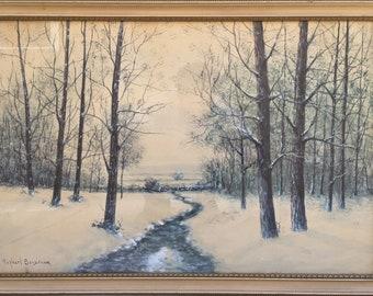 "Rahael Senseman Water Color Painting Winter Stream Landscape Beautiful 33""W"