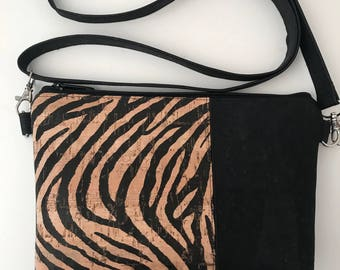 Cork Bag/Crossbody Bag/Cellphone Bag/Clutch Bag/Pouch/Purse  - Black/Zebra