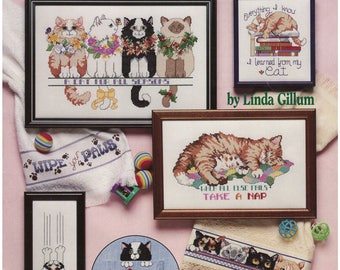 Cross Stitch Pattern Leaflet – Cat Purr-sonalities – American School of Needlework 3588 – 15 Designs by Linda Gillum