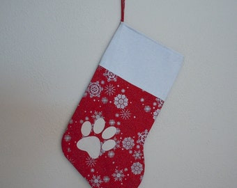 Red and Silver Snowflake Christmas Stocking with White Cat Paw Applique