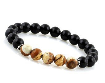 Mens Yoga Bracelet, Mala Bracelet Men, Gemstone Bracelet, Black Onyx Bracelet, Wrist Mala, Picture Jasper Bracelet, Mens Beaded Bracelet