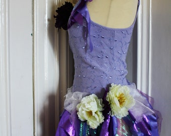 Purple Fairy Dress/Top/Tutu/Size S/Flower fairy Costume/pixie/Pagan/Eco Friendly/Boho/Fantasy/Fairy Costume/Bespoke/Fairy Festival/Fairy Top
