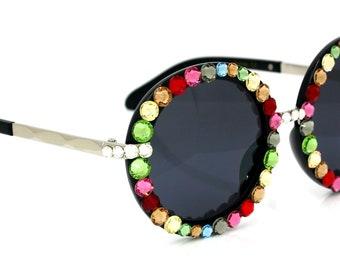 Bling Custom Multicolor Sunglasses w/ Swarovski Crystals