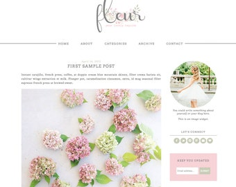 Blogger Template Premade Blog Theme Design Fleur - Instant Digital Download, Flower, Pink and White