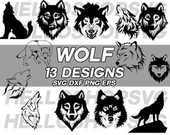 wolf svg, wolves svg, howling wolf svg, wolf head svg, growling wolf, clipart, decal, eps, dxf, png, silhouette, stencil, cut file, vinyl