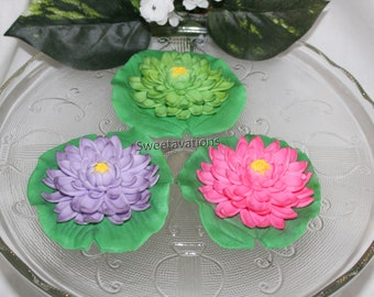 Sugar Flower Lotus - Fondant Lotus - Fondant Lily Pad - Lotus Flowers - Gumpaste Lotus Flowers - Baby Shower - Wedding - Bridal - Sweet 16