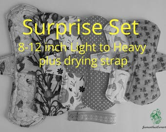 Cloth Pad Set - 6 Cloth Pads Light to Heavy Flow plus Drying Strap/ Handmade/ Eco Friendly/ Reusable/ Incontinence Pad/ Zero Waste