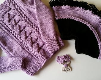 Knit girl sweater-Knit girl skirt-Knit girl sets-Knit girl clothing-Lilac girl set-Girl gift-Sweaters and skirts for girls